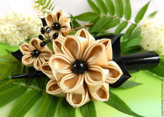 Заколки ручной работы. Ярмарка Мастеров - ручная работа. Купить Заколка-зажим с цветком «Вдохновение» украшение в волосы, канзаши. Handmade.