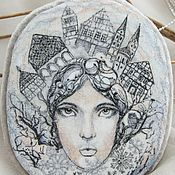 handmade. Livemaster - original item Brooch pendant snow Queen. silk embroidery. Handmade.