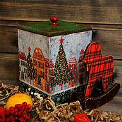 """Для дома и интерьера ручной работы. Ярмарка Мастеров - ручная работа Короб """"Новогодний"""" для  сладкого подарка. Handmade."""