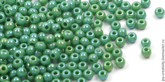 Для украшений ручной работы. Ярмарка Мастеров - ручная работа. Купить Бисер 10 разм 10 гр, зеленый радужный, Preciosa. Handmade.