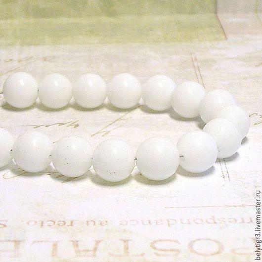 бусина нефрит, 8 мм, камень, цвет белый, 1 шт