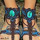 Обувь ручной работы. Заказать Magiс shoes - макраме бохо обувь с тибетской бирюзой. Plumarii (Софья). Ярмарка Мастеров. бохо
