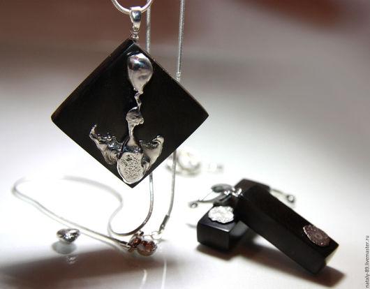 Комплекты украшений ручной работы. Ярмарка Мастеров - ручная работа. Купить Украшение из черного дерева серебро 952 (Бездна). Handmade.