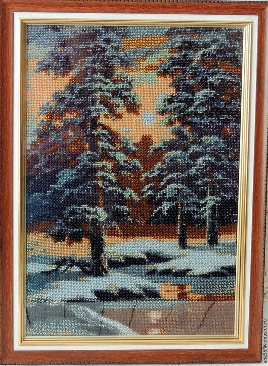 Пейзаж ручной работы. Ярмарка Мастеров - ручная работа. Купить Картина  бисером. В лесу.. Handmade. Комбинированный, Вышитая картина