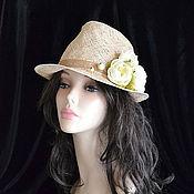 Аксессуары handmade. Livemaster - original item Fedora straw Roses. Handmade.