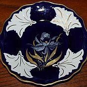 Винтаж handmade. Livemaster - original item Collectible plate, hand painted cobalt, gold, Weimar, Hermann. Handmade.