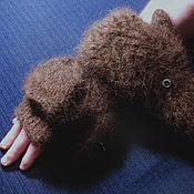 Аксессуары handmade. Livemaster - original item Men`s knitted mittens-transformers Bitter chocolate. Handmade.