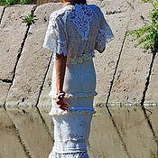 Одежда ручной работы. Ярмарка Мастеров - ручная работа Летнее макси платье из кружева и хлопковой пряжи (№300). Handmade.