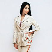 Одежда handmade. Livemaster - original item Stylish Trouser suit with hand embroidery
