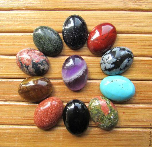 Кабошоны натуральных камней 16х12 мм. Цена за 1 шт. Елена (7businka). Ярмарка мастеров.