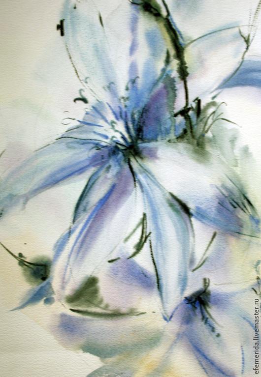 Картины цветов ручной работы. Ярмарка Мастеров - ручная работа. Купить акварель цветок цикория. Handmade. Голубой, акварель, мечтательность