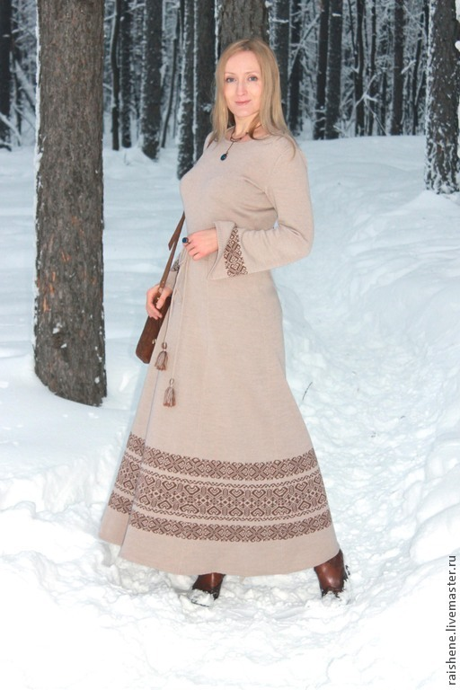 Платья ручной работы. Ярмарка Мастеров - ручная работа. Купить платье вязаное Мария. Handmade. Бежевый, длинное платье