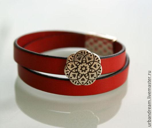 """Браслеты ручной работы. Ярмарка Мастеров - ручная работа. Купить Кожаный браслет из кожи """"Немного красного..."""". Handmade."""