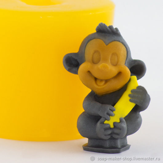Силиконовая форма для мыла «Обезьянка с бананом 3D», Формы для мыла, Шахты, Фото №1
