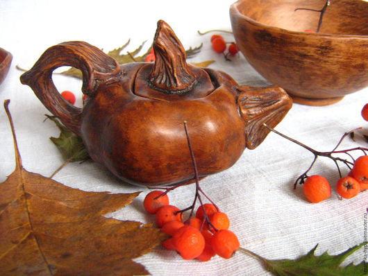 Чайники, кофейники ручной работы. Ярмарка Мастеров - ручная работа. Купить Чайник-тыковка (миниатюра). Handmade. Коричневый, тыква