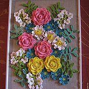 """Картины и панно ручной работы. Ярмарка Мастеров - ручная работа Вязаная картина """"Букет цветов"""". Handmade."""