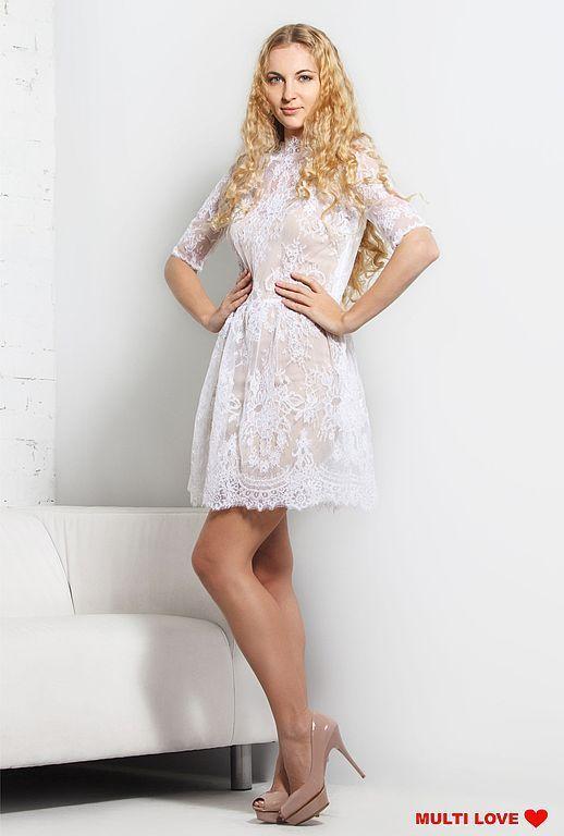 Платья ручной работы. Ярмарка Мастеров - ручная работа. Купить Свадебное короткое, кружевное платье. Handmade. Белый, платье свадебное