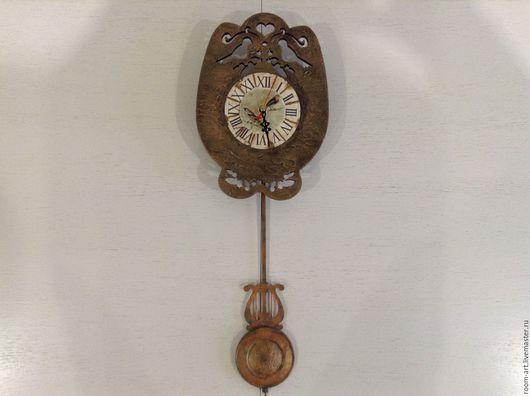 Часы для дома ручной работы. Ярмарка Мастеров - ручная работа. Купить Часы с маятником. Handmade. Коричневый, настенные часы