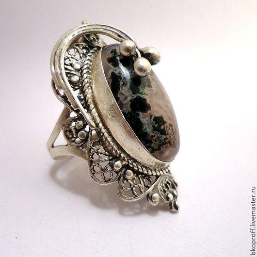 Кольца ручной работы. Ярмарка Мастеров - ручная работа. Купить Большое Серебряное кольцо 925 пробы филигрань агат. Handmade.