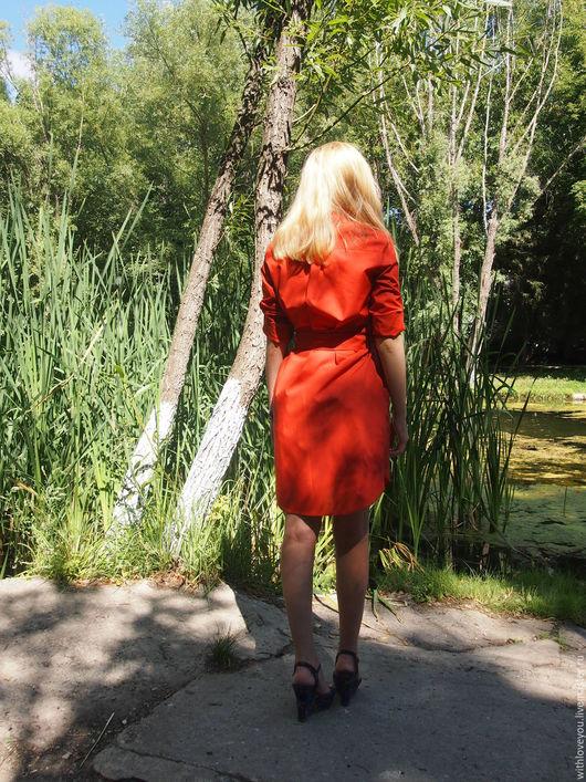Платья ручной работы. Ярмарка Мастеров - ручная работа. Купить Платье-рубашка. Handmade. Рыжий, длинная рубашка, флизелин