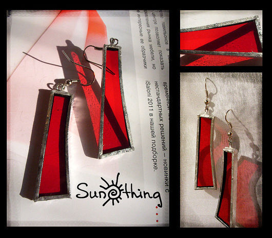 Earrings handmade. Livemaster - handmade. Buy Earrings 'Fire'.Stained glass, earrings, positive earrings, tin, bright red, tin