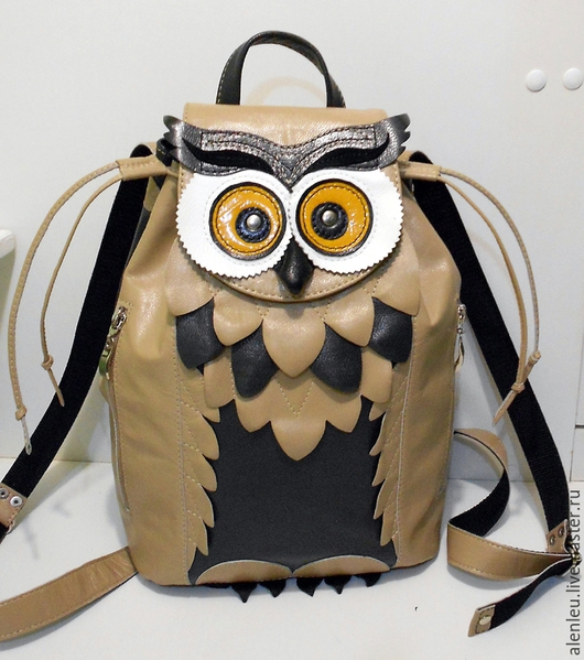 """Рюкзаки ручной работы. Ярмарка Мастеров - ручная работа. Купить """"Совенок милашка"""" кожаный рюкзак дизайнерский. Handmade. Бежевый"""