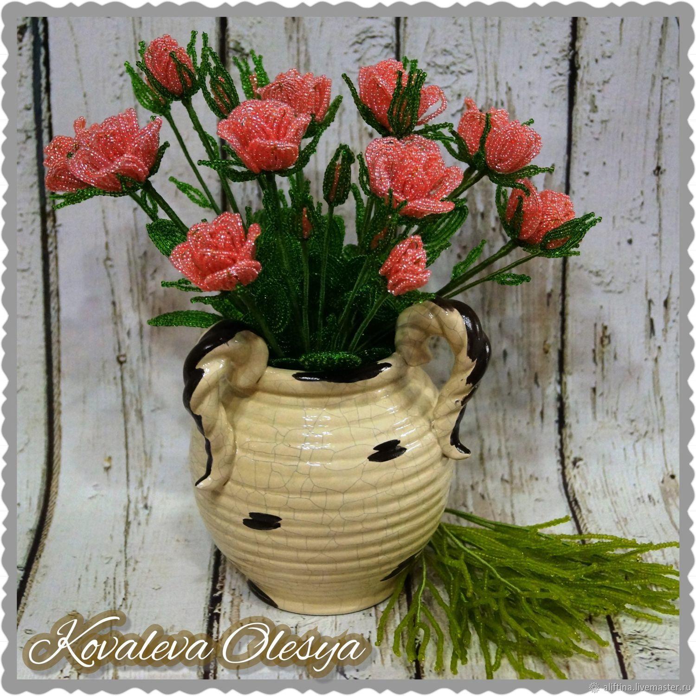 Кустовые цветы из бисера фото