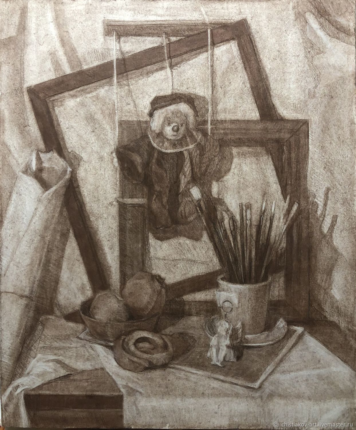 Still life with brushes and garnets, Pictures, St. Petersburg,  Фото №1