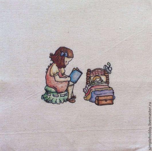 """Шитье ручной работы. Ярмарка Мастеров - ручная работа. Купить Купон лен """"Детство"""". Handmade. Бежевый, лен, принт"""