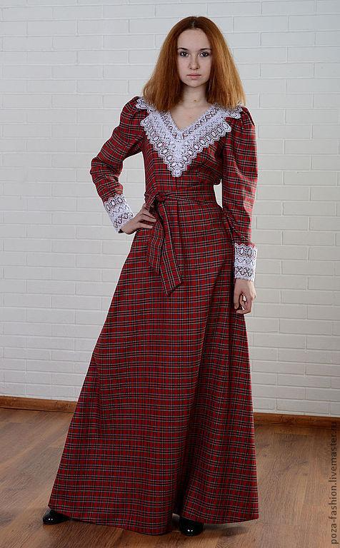 """Платья ручной работы. Ярмарка Мастеров - ручная работа. Купить Платье """"Англичанка"""". Handmade. Ярко-красный, длинное платье, шотландка"""