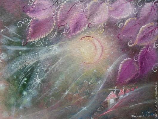 """Фэнтези ручной работы. Ярмарка Мастеров - ручная работа. Купить Маленькая картина для души """"Лунная пыльца"""" фэнтези. Handmade. Фуксия"""
