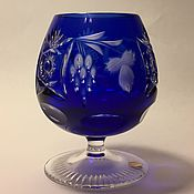 Vintage glasses handmade. Livemaster - original item A glass of cognac cobalt color crystal Nachtmann. Handmade.