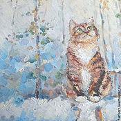 Картины и панно ручной работы. Ярмарка Мастеров - ручная работа Картина. Кот и первый снег.. Handmade.