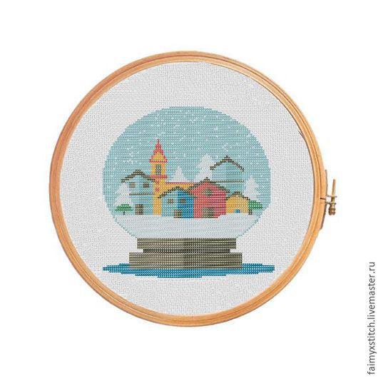 """Вышивка ручной работы. Ярмарка Мастеров - ручная работа. Купить Схема для вышивки крестом """"Зимний город"""". Handmade. Комбинированный, разноцветный"""