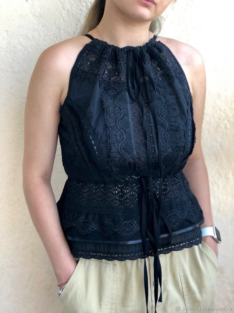 Black short blouse/top in boho style sewing and lace, Blouses, Tashkent, Фото №1