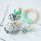 Одежда handmade. Livemaster - original item Teether ring with owl mint grey - Natural teething toy. Handmade.