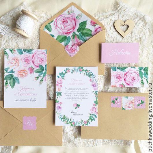Свадебные аксессуары ручной работы. Ярмарка Мастеров - ручная работа. Купить Акварельные цветочные свадебные розовые приглашения Садовые розы. Handmade.