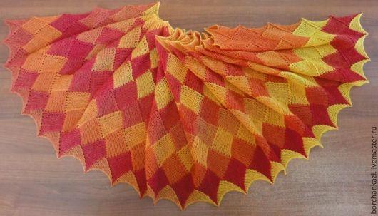 Шали, палантины ручной работы. Ярмарка Мастеров - ручная работа. Купить Палантин Танец огня шарф вязаный спицами. Handmade.