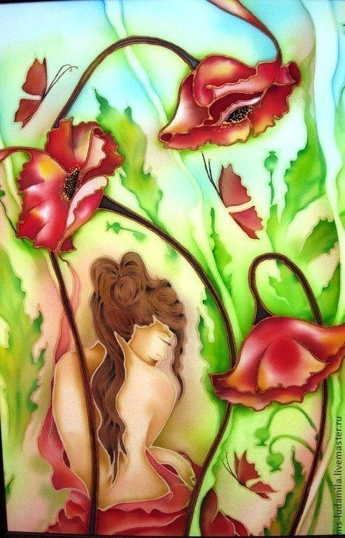 маковое настроение)))))Маки!Чудесные цветы!многослойный холодный батик