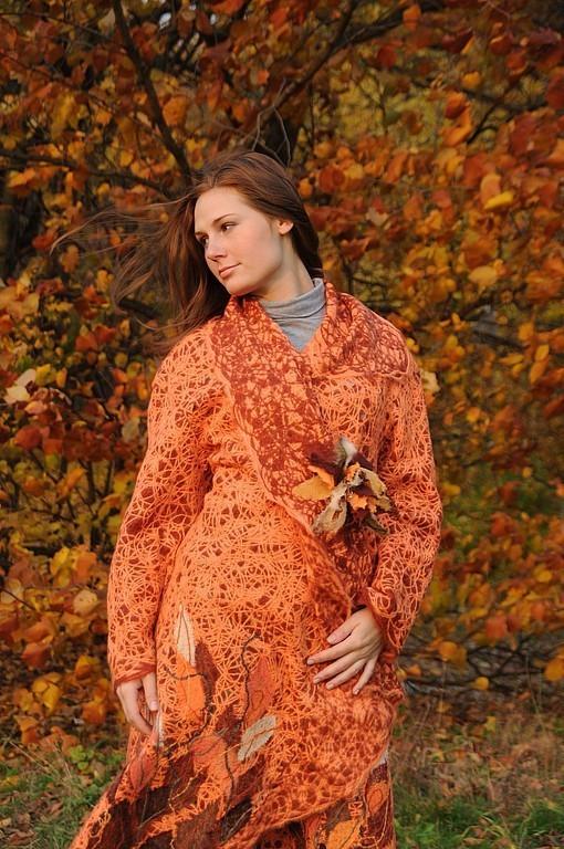 """Верхняя одежда ручной работы. Ярмарка Мастеров - ручная работа. Купить Пальто """"Осень"""". Handmade. Пальто, оранжевый, шерсть"""