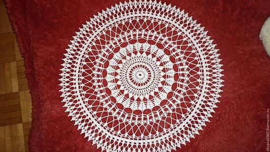 Текстиль, ковры ручной работы. Ярмарка Мастеров - ручная работа. Купить большая белая ажурная салфетка крючком. Handmade. Белый