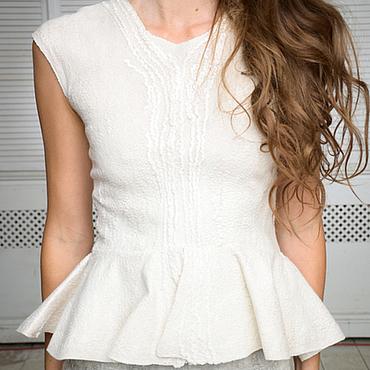 Одежда ручной работы. Ярмарка Мастеров - ручная работа Валяное платье-футляр с баской. Handmade.