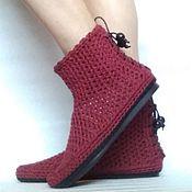 Обувь ручной работы. Ярмарка Мастеров - ручная работа Сапожки вязаные со шнуровкой, бордо, лен, р.37. Handmade.