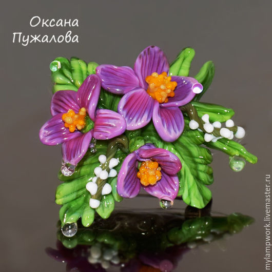 Брошь цветок из стекла, подарок женщине, брошка с цветами, брошь подруге, фиолетовая брошь, брошь купить, оригинальная брошь. Брошка, броши, броши на отворот
