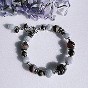 Украшения handmade. Livemaster - original item Bracelet made of natural blue agate, pyrite and agate Botswana. Handmade.
