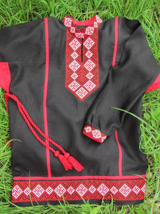 """Одежда ручной работы. Ярмарка Мастеров - ручная работа. Купить Рубаха славянская """"Перунов цвет"""" черная. Handmade. Черный, красный"""
