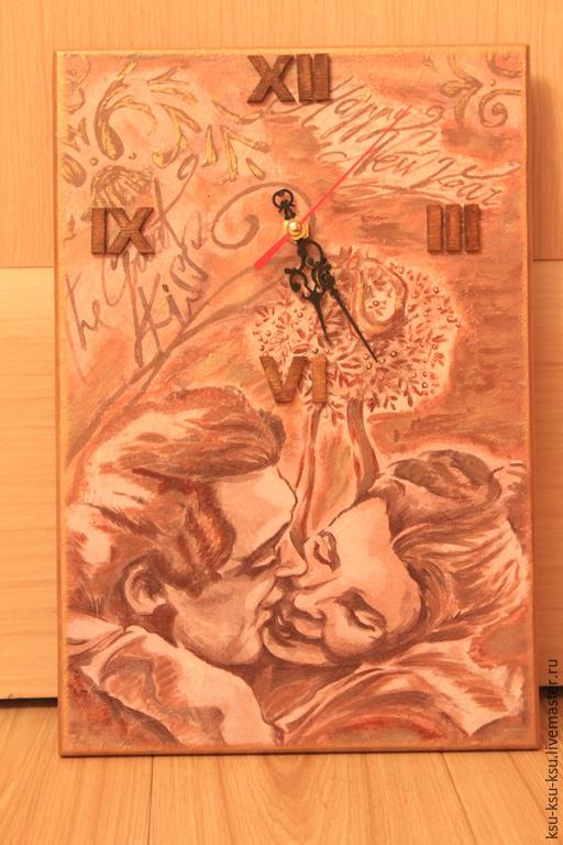 Часы для дома ручной работы. Ярмарка Мастеров - ручная работа. Купить Нежный поцелуй.. Handmade. Подарок на любой случай