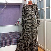 Одежда ручной работы. Ярмарка Мастеров - ручная работа Трикотажное платье макси с воланом Антуанетта. Handmade.