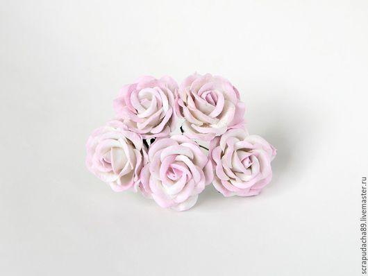Открытки и скрапбукинг ручной работы. Ярмарка Мастеров - ручная работа. Купить Макси-розы с закругленными лепестками св. розовый+белые 5 шт.. Handmade.