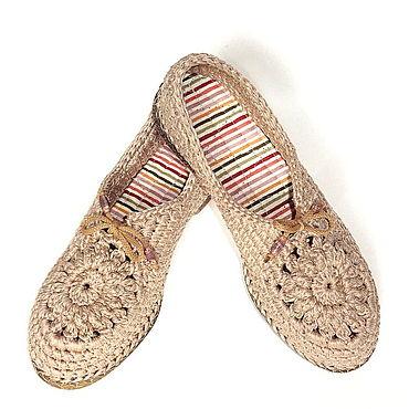Обувь ручной работы. Ярмарка Мастеров - ручная работа Мокасины вязаные Lady G, бежевый хлопок. Handmade.